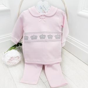 Baby Girls Crown Top & Trousers Set