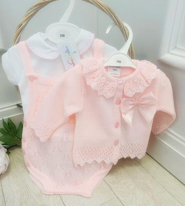 Baby Girls Pink Knitted Dungaree Shorts Set