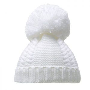 White Pearl & Cable Knit Pom Pom Hat