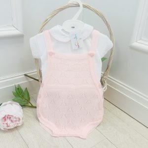 Baby Girls Pink Knitted Dungaree Shorts Set