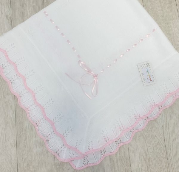 Baby Girls White & Pink Blanket