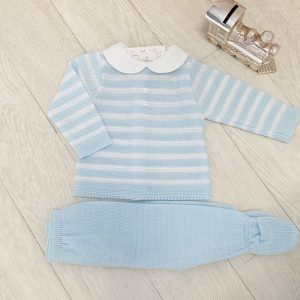 Blue & White Knitted Top & Trousers