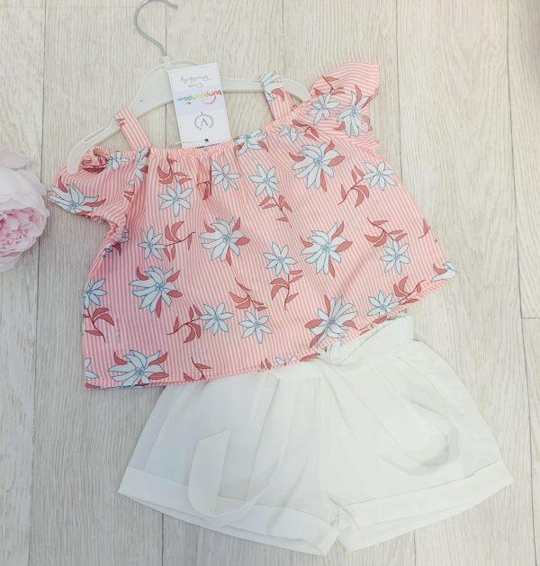 Girls Peach Top & Shorts Set
