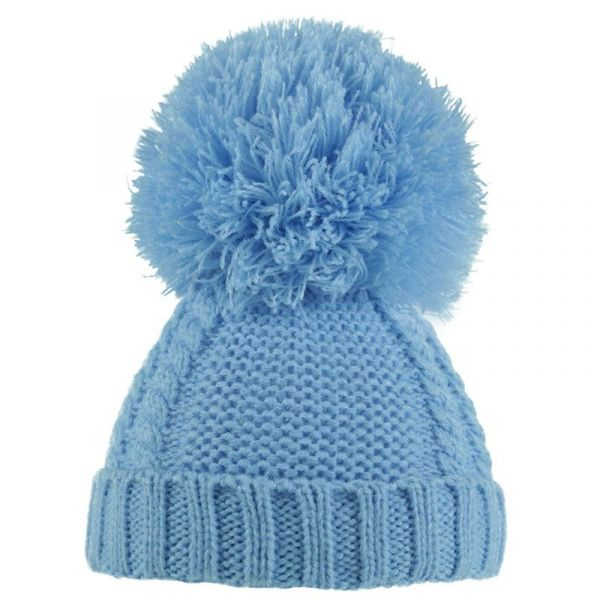 Blue Pearl & Cable Knit Hat