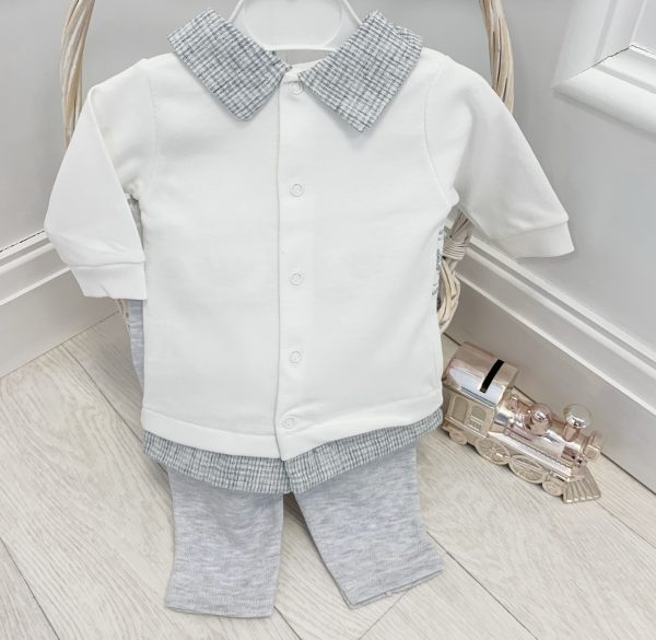 Baby Boys Crown Ivory & Grey Top & Trousers