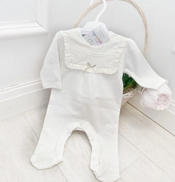 Baby Girls Ivory Breathable Babygrow