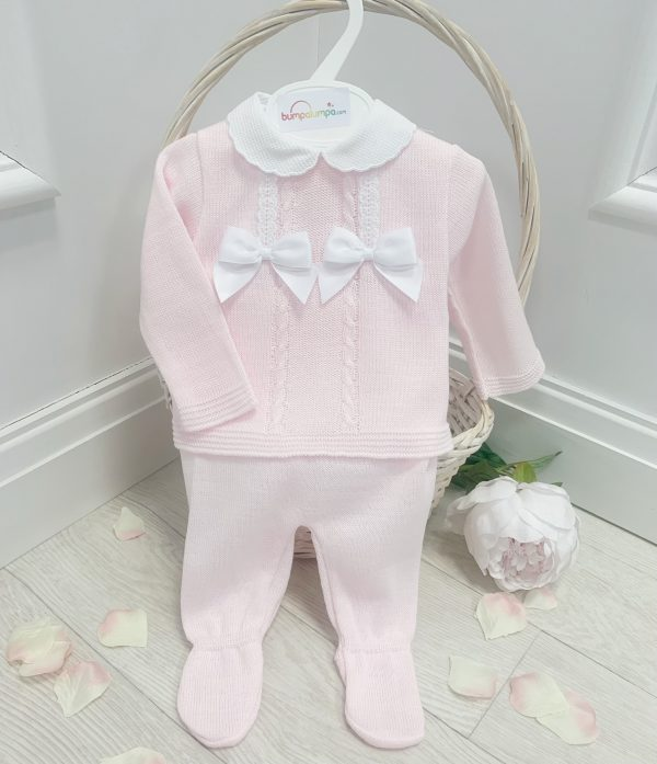 Baby Girls Pink Bow Knitted Set