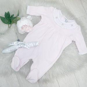 Smocking Collar Pink Babygrow
