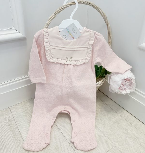 Baby Girls Pink Breathable Cotton Babygrow