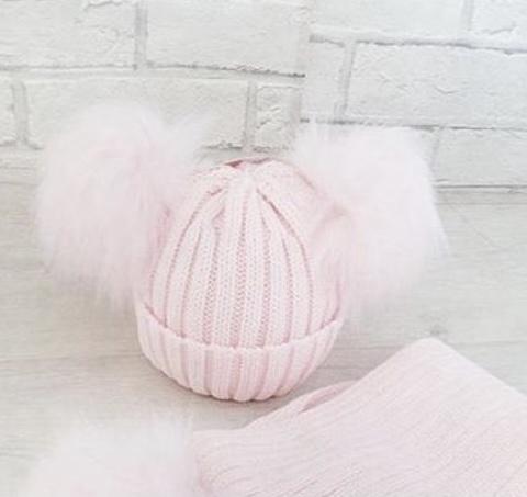 Pink Double Pom Pom Hat