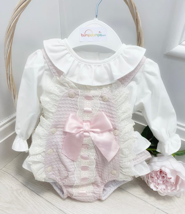Baby Girls Pink Dungaree Set with Lace & Bow