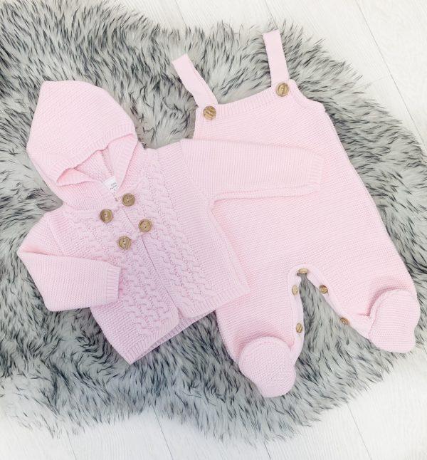 Baby Girls Pink Knitted Cardigan & Dungaree Set