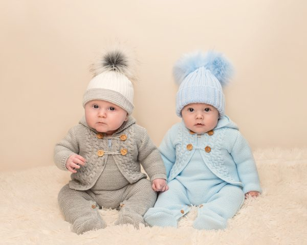 Baby Boys Blue Knitted Dungarees & Cardigan Set