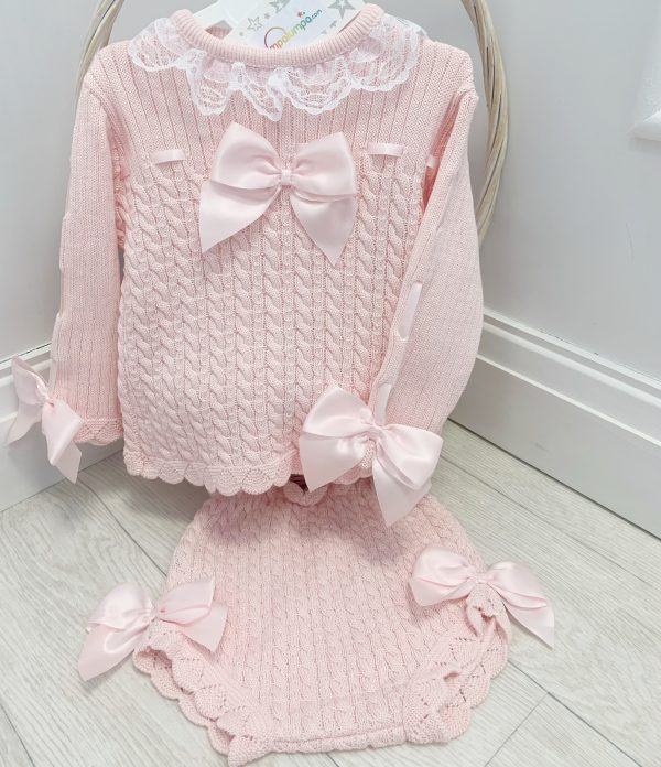 Baby Girls Pink Knitted Outfit with Satin Bows