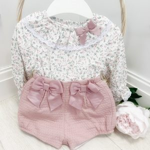Baby Girls Dusty Pink Shorts Set