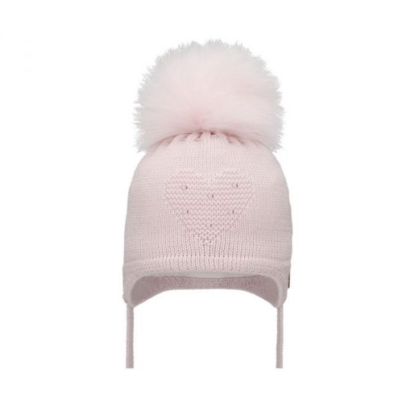 Baby Girls Pink Heart Pom Pom Hat