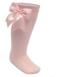 Baby Girls Pink Satin Bow Knee High Socks