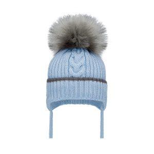 Baby Boys Blue & Grey Pom Pom Hat