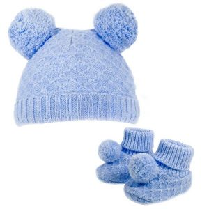 Baby Boys Blue Pom Pom Hat & Bootees