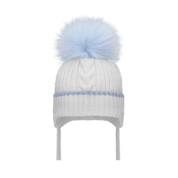 Baby Blue & White Pom Pom Hat