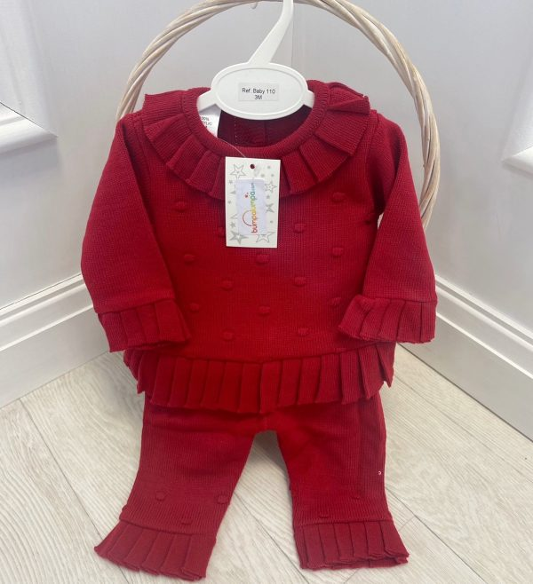 Baby Girls Red Knitted Jumper & Trousers Set