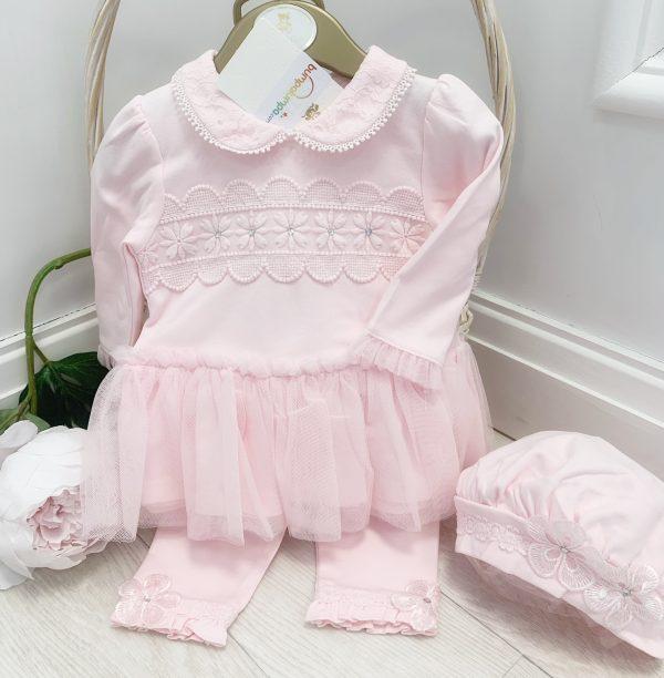 Mintini Baby Girls Pink Dress Leggings & Hat Set