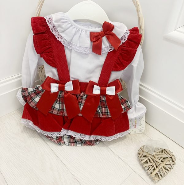 Baby Girls Red Tartan Outfit