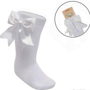 Baby Girls White Satin Bow Knee High Socks