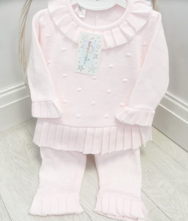 Baby Girls Pink Knitted Jumper & Trousers Set