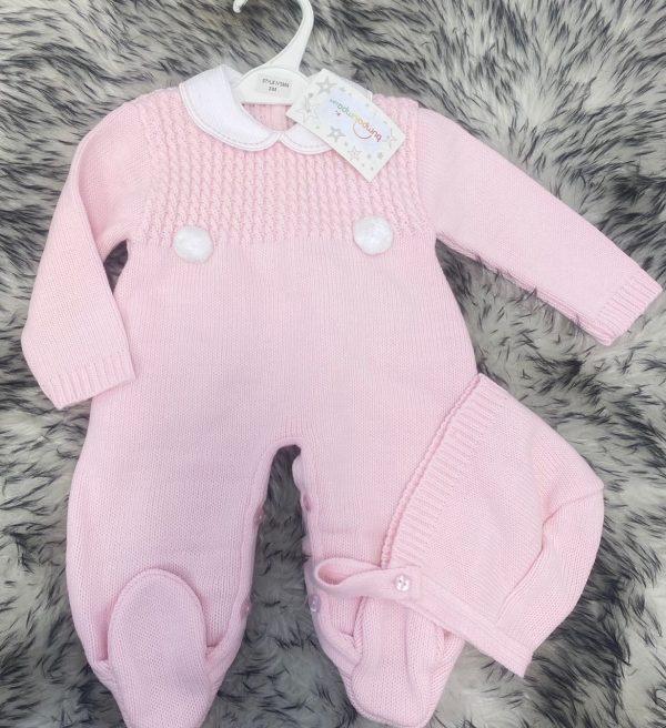 Baby Girls Pink Bobble Onesie & Bonnet