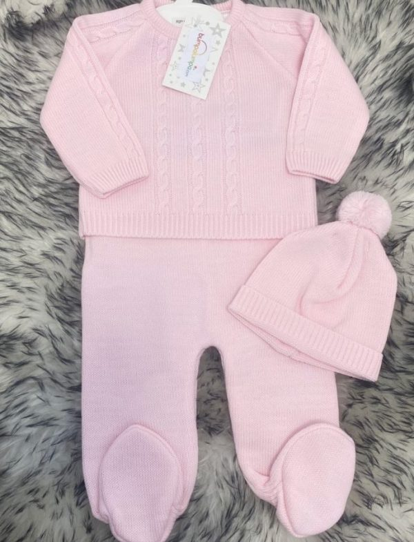 Baby Girls Knitted Pink Top Hat & Trousers Set