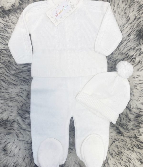 Unisex Knitted White Top & Trousers Set