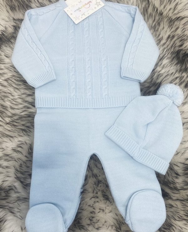 Baby Boys Knitted Blue Top & Trousers Set