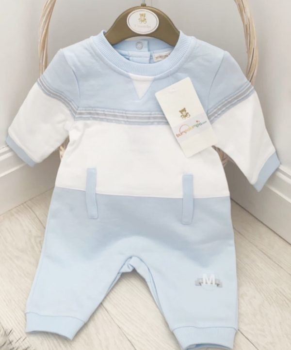 Baby BoysBlue & White Baby Romper Jumpsuit