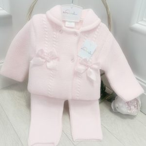 Baby Girls Pink Knitted Jacket & Trousers Set