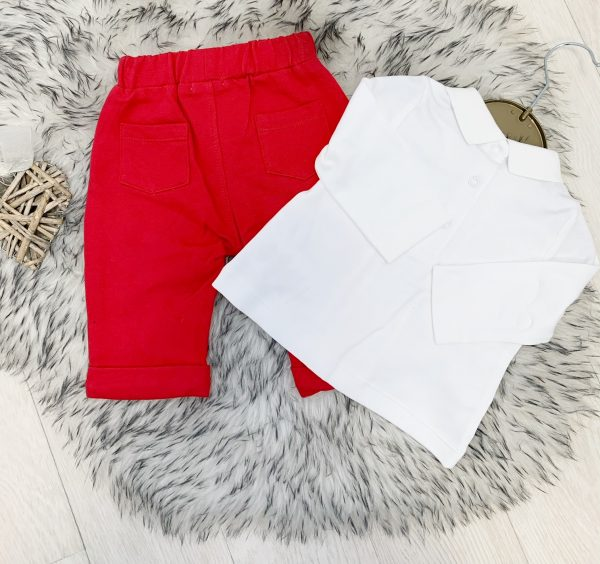 Mintini Baby Boys Red & White Top & Trousers