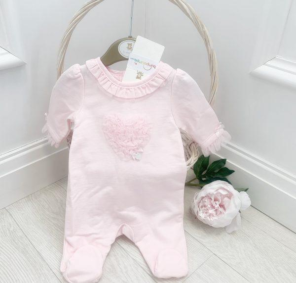 Mintini Baby Girls Pink Heart Babygrow