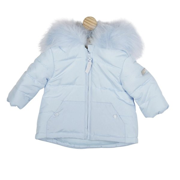 Mintini Baby Boys Blue Padded Coat with Fur