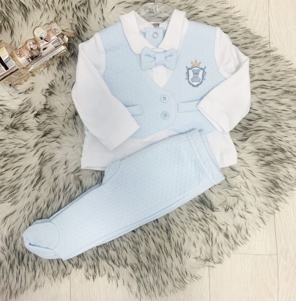 Baby Boys Blue Baby Suit with Bow Tie