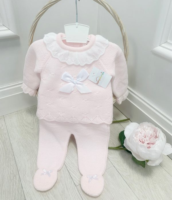 Baby Girls Pink Knitted Top & Covered Feet Trousers
